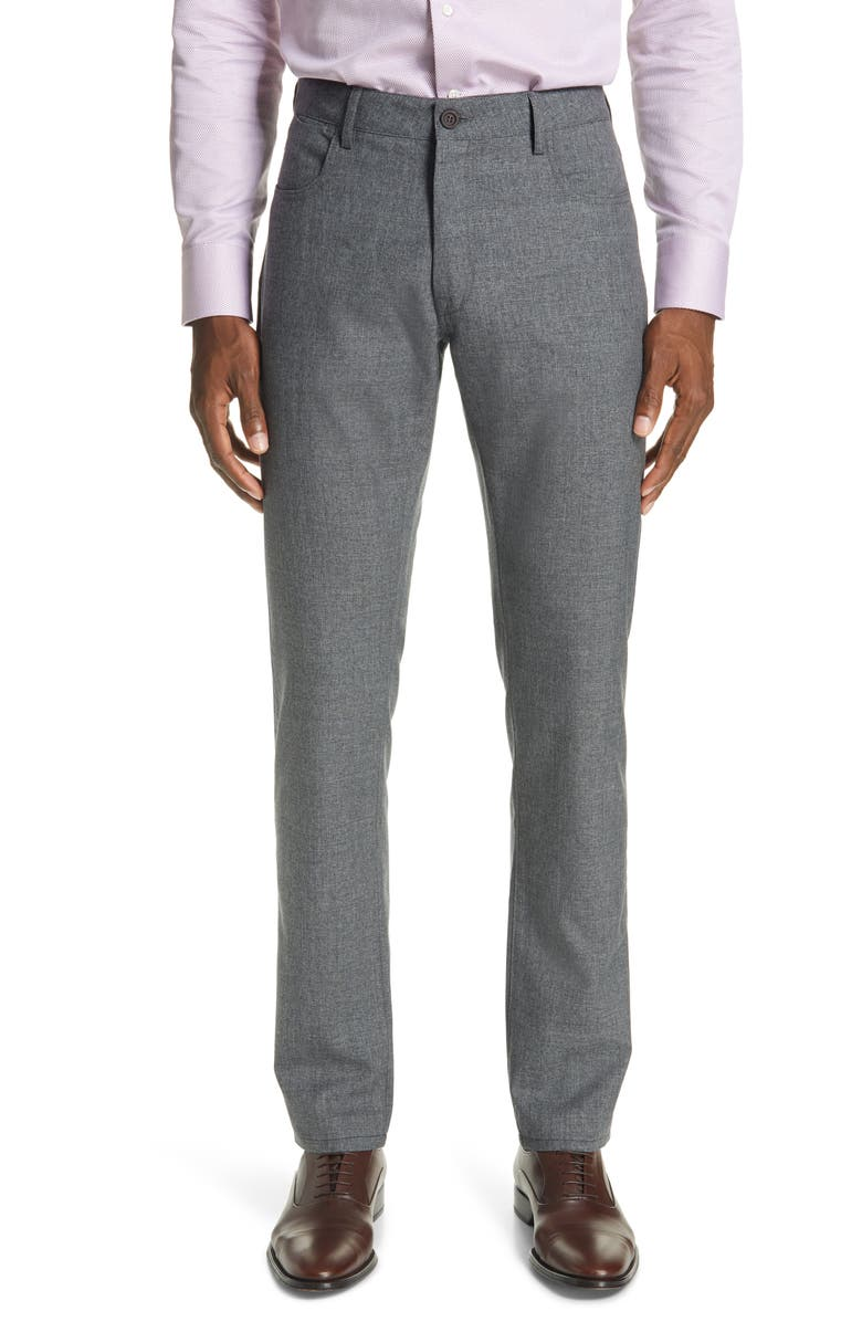 CANALI Classic Fit Heathered Wool Sport Trousers, Main, color, 020