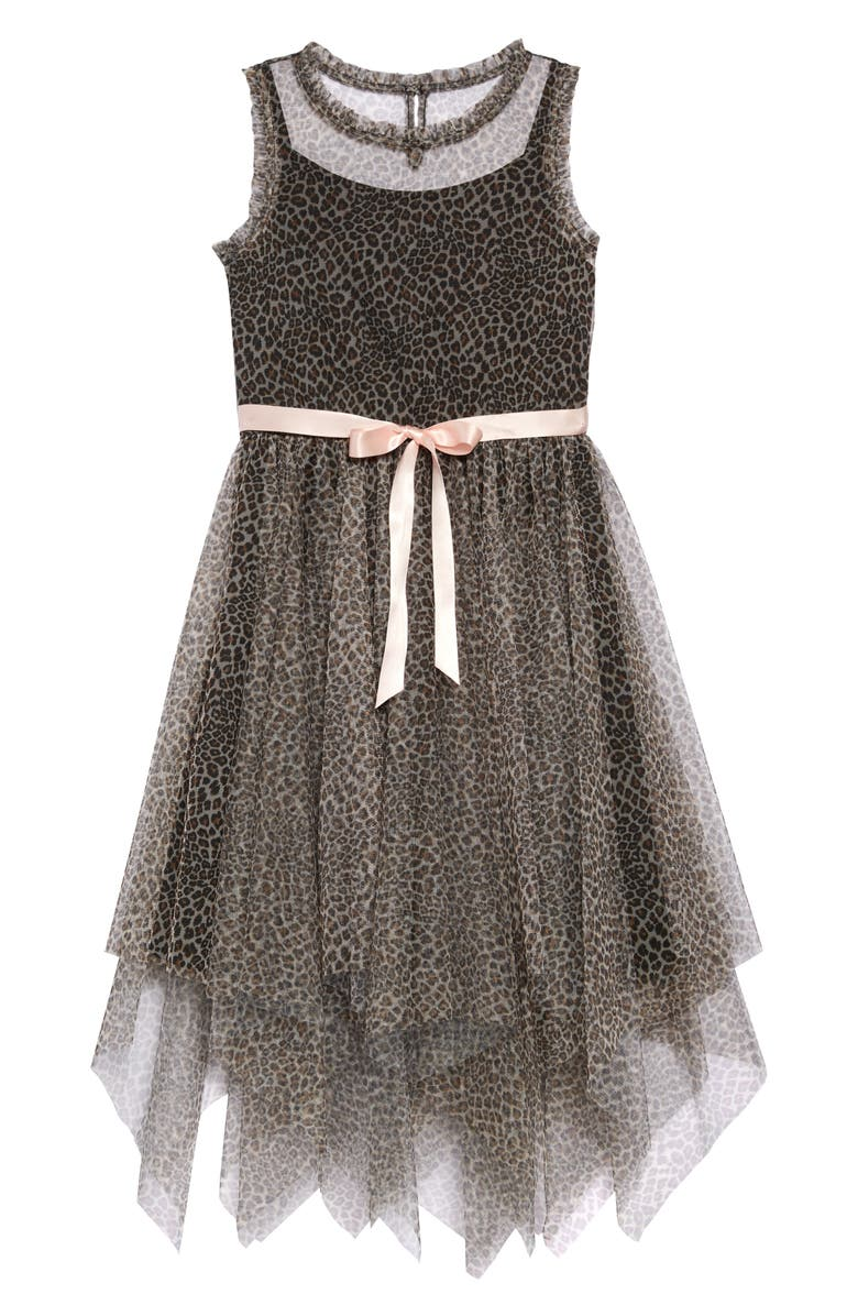 ZUNIE Cheetah Print Mesh Dress, Main, color, 001