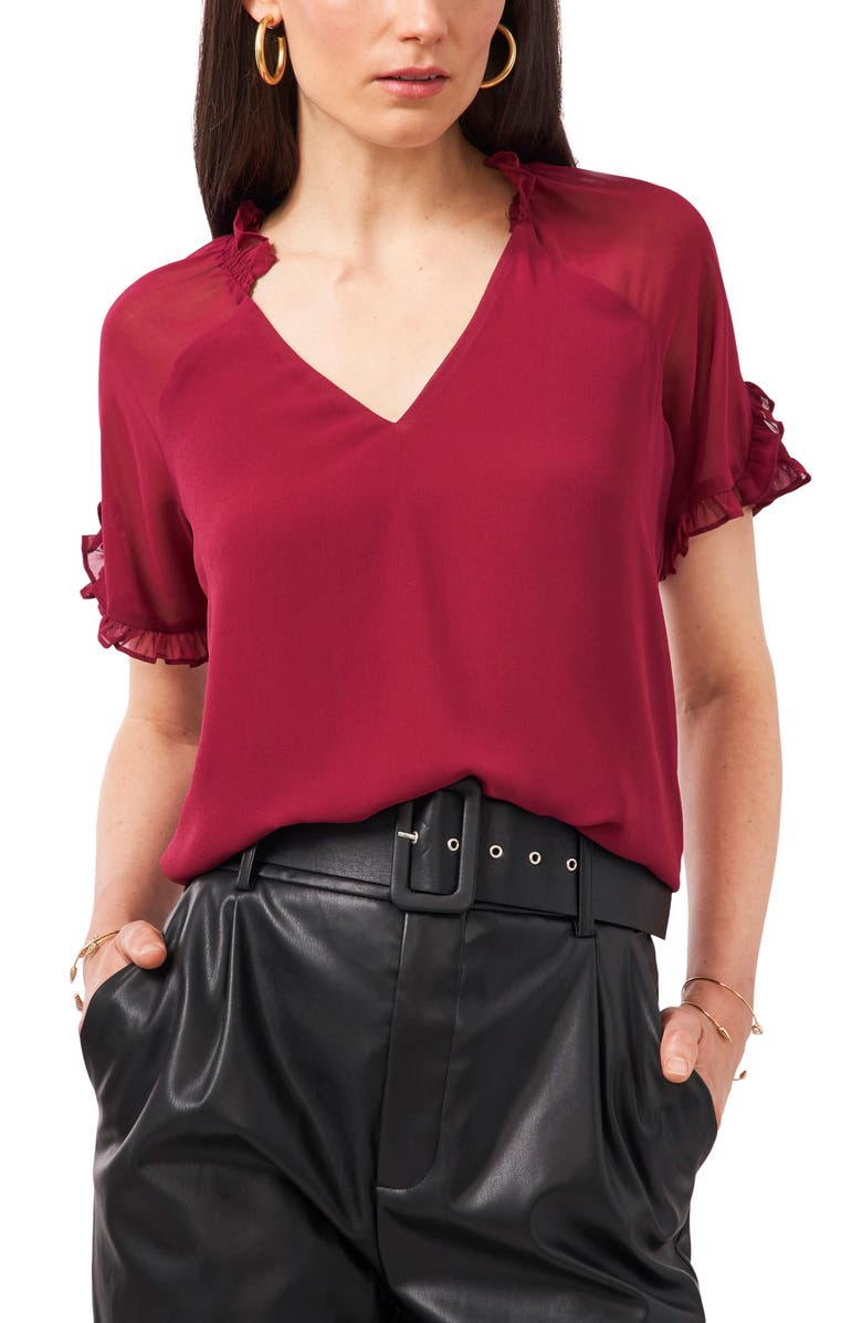 1.STATE Ruffle Sleeve Mixed Media Top, Main, color, RUBY PLUME