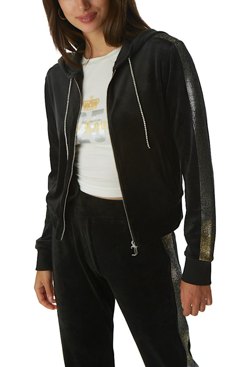 JUICY COUTURE Anniversary Velour Hooded Zip Track Jacket, Main, color, BLACK