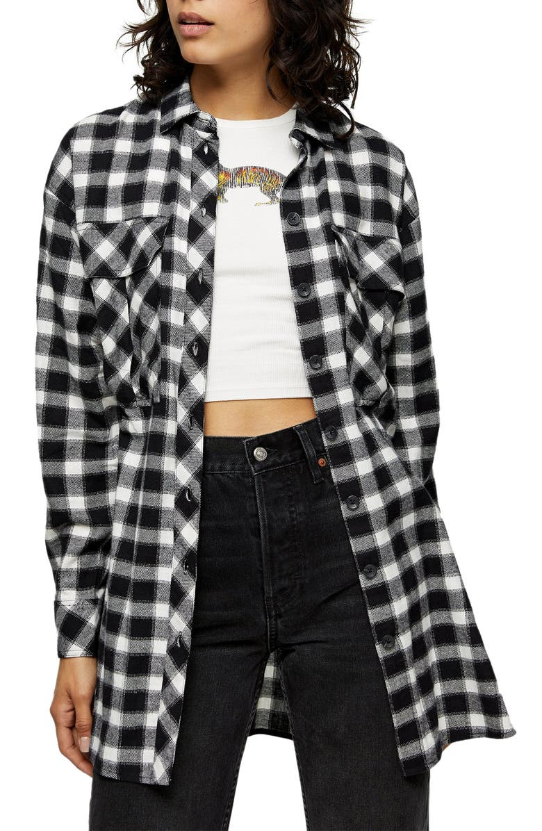 TOPSHOP Casual Oversize Check Shirt, Main, color, BLACK MULTI