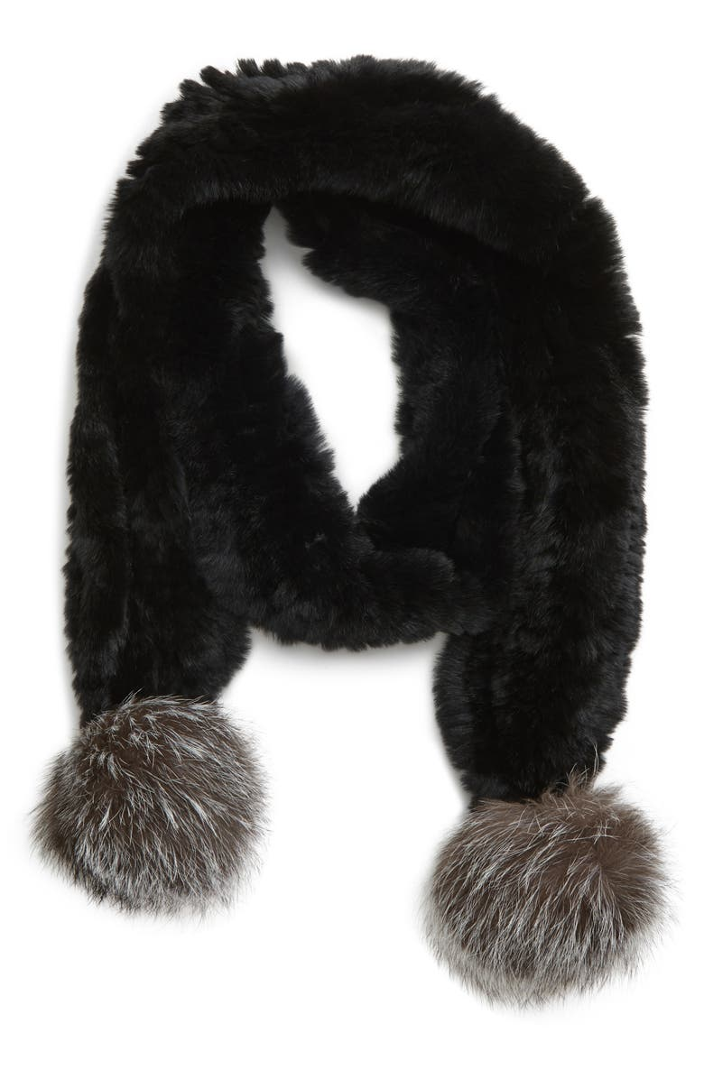 JOCELYN Genuine Rabbit Fur Skinny Scarf with Genuine Fox Fur Poms, Main, color, 001