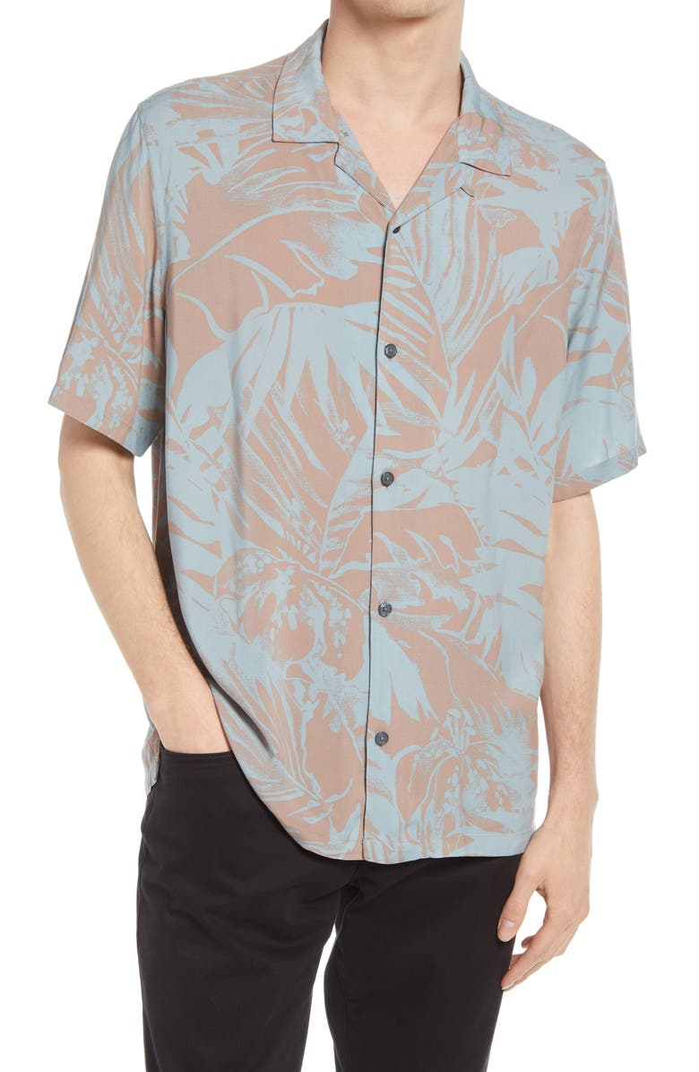 ALLSAINTS Lanai Floral Relaxed Fit Short Sleeve Button-Up Camp Shirt, Main, color, PINK