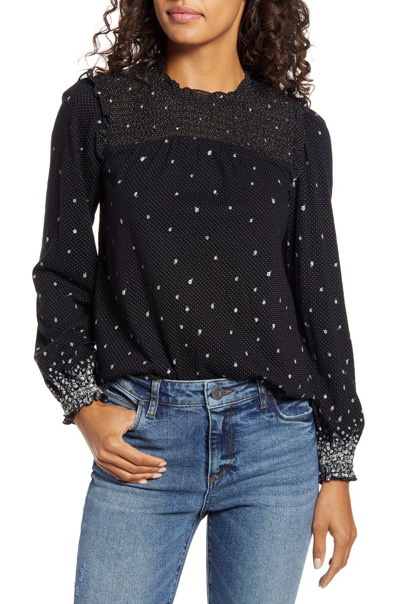 LUCKY BRAND Smocked Peasant Top, Main, color, 006