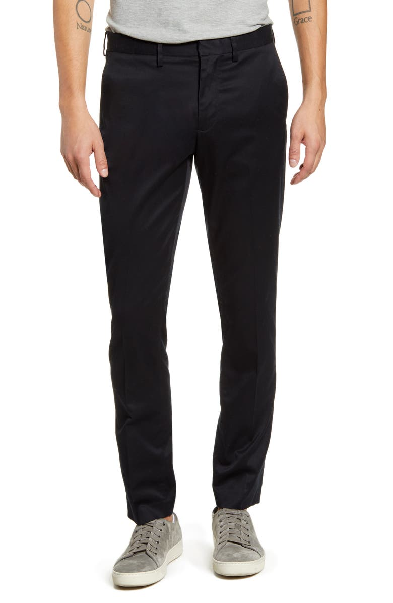 NORDSTROM Slim Fit Non-Iron Chinos, Main, color, BLACK