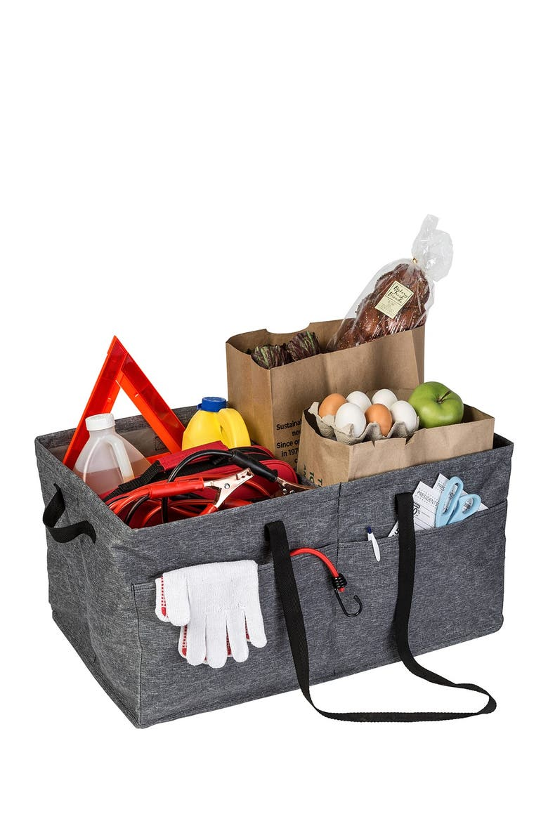 HONEY-CAN-DO Textured Grey Large Trunk Organizer, Main, color, TEXTURED GREY