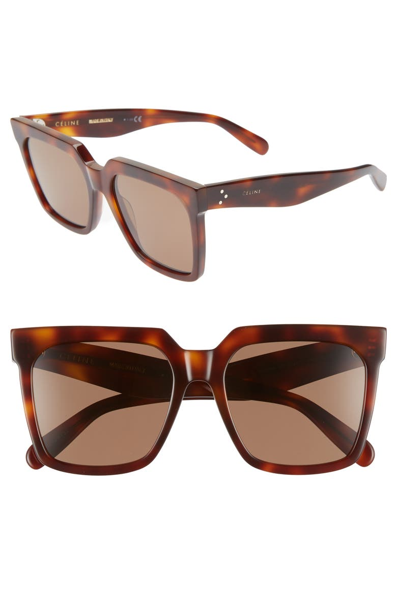 CELINE 55mm Polarized Square Sunglasses, Main, color, CLASSICAL HAVANA/ BROWN