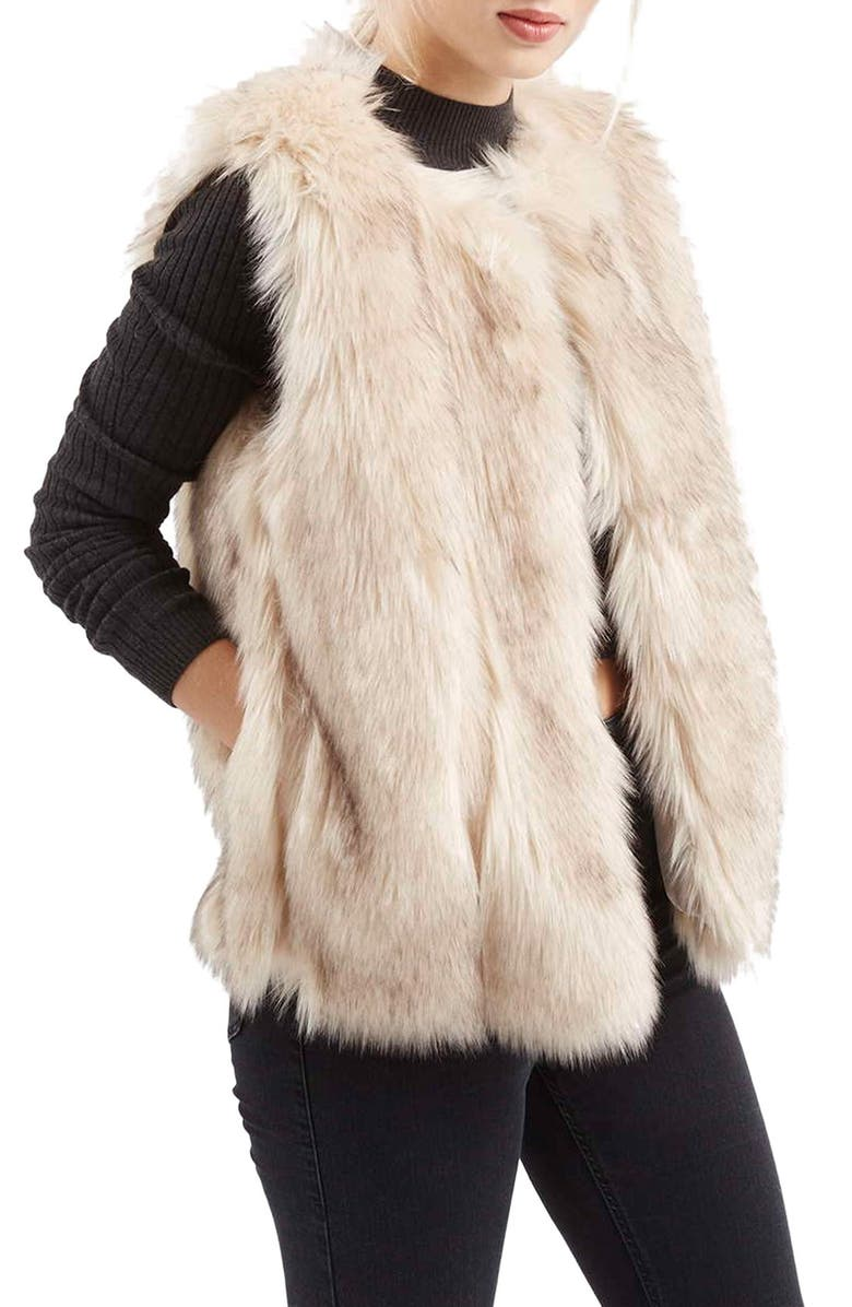 TOPSHOP 'Leah' Faux Fur Vest, Main, color, 900