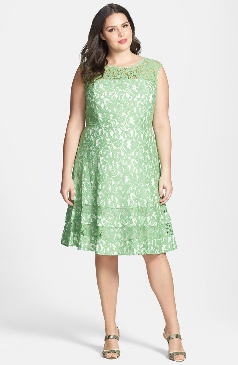 ADRIANNA PAPELL Cutaway Sleeve Lace Shift Dress, Main, color, 311