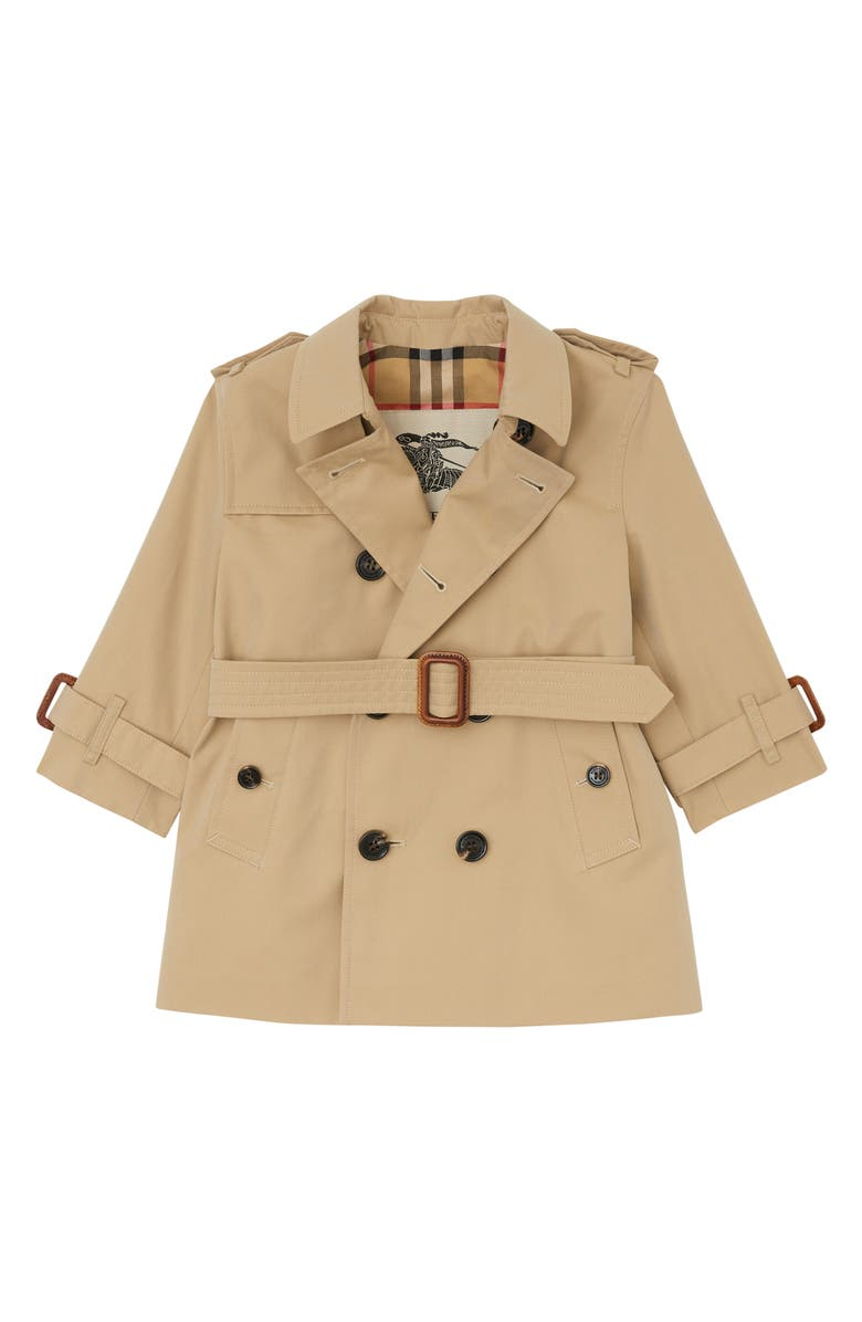 BURBERRY Mayfair Cotton Trench Coat, Main, color, HONEY