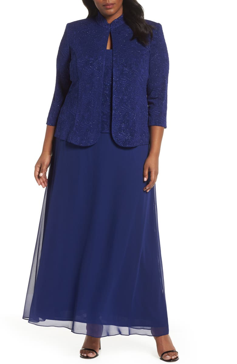 ALEX EVENINGS Mock Two-Piece Gown with Jacket, Main, color, ELECTRIC BLUE