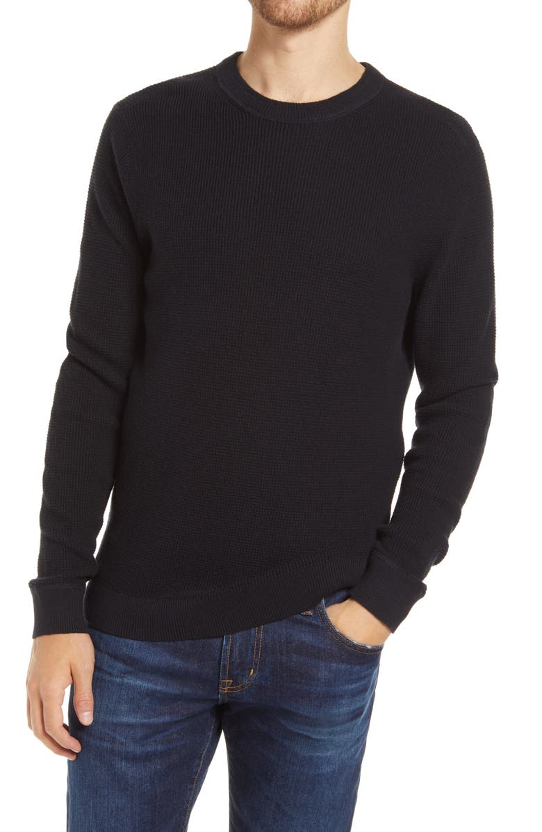 1901 Waffle Knit Crewneck Sweater, Main, color, 001