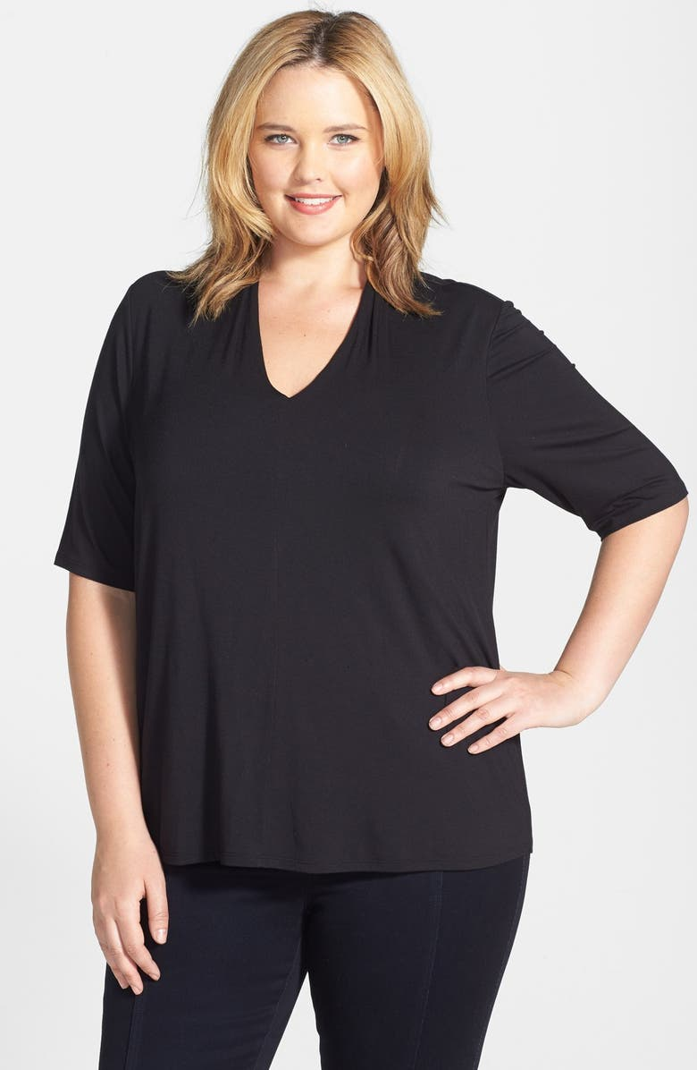 SEJOUR Elbow Sleeve V-Neck Jersey Top, Main, color, 001