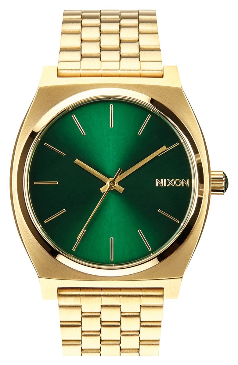 NIXON The Time Teller Watch, 37mm, Main, color, GOLD/ GREEN