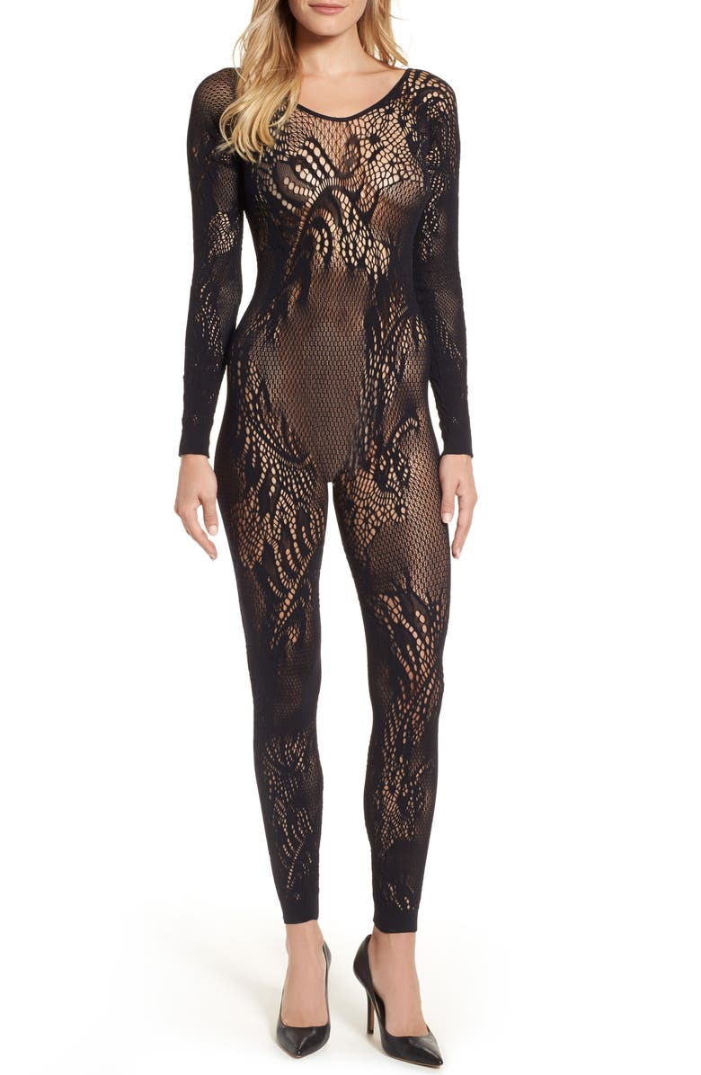 NATORI Feathers Long Sleeve Catsuit, Main, color, BLACK