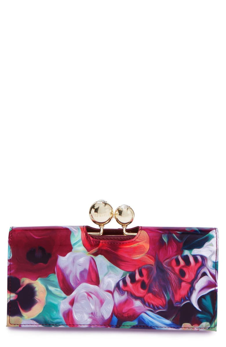 TED BAKER LONDON 'Floral Swirl Bobble' Matinee Wallet, Main, color, FUCHSIA
