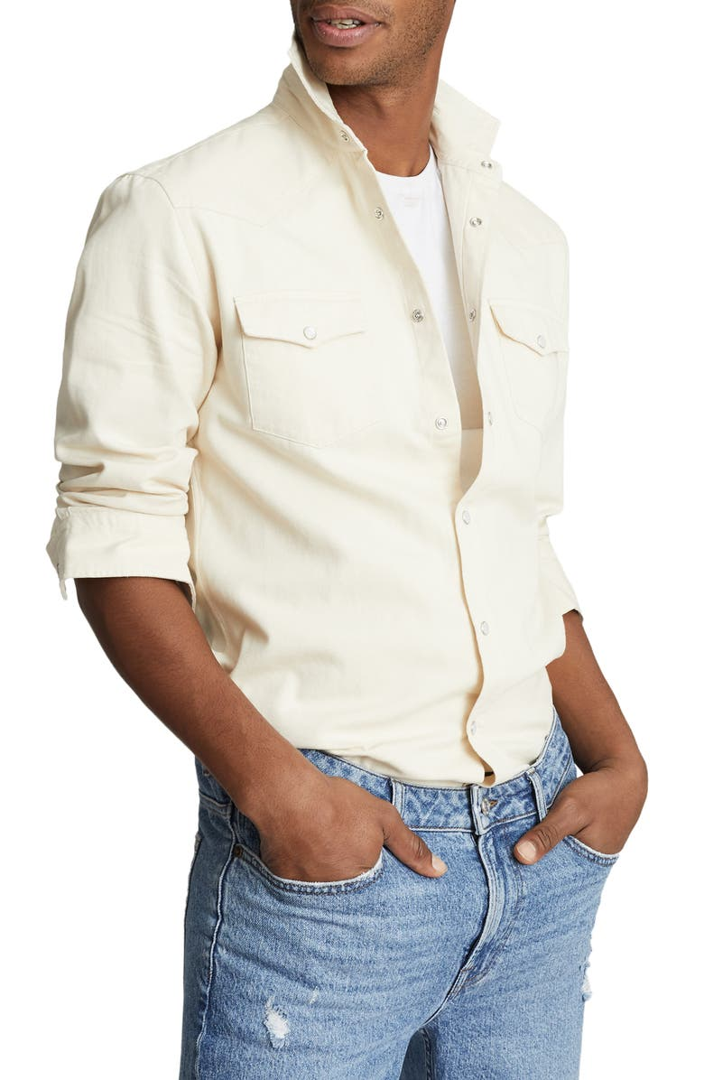 REISS Bairstow Slim Fit Cotton Western Shirt, Main, color, WHITE