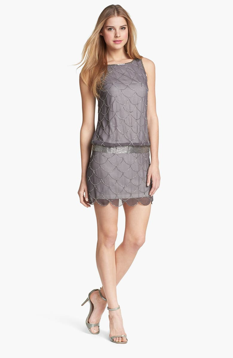 ADRIANNA PAPELL 'Fish Scale' Embellished Mesh Dress, Main, color, 265