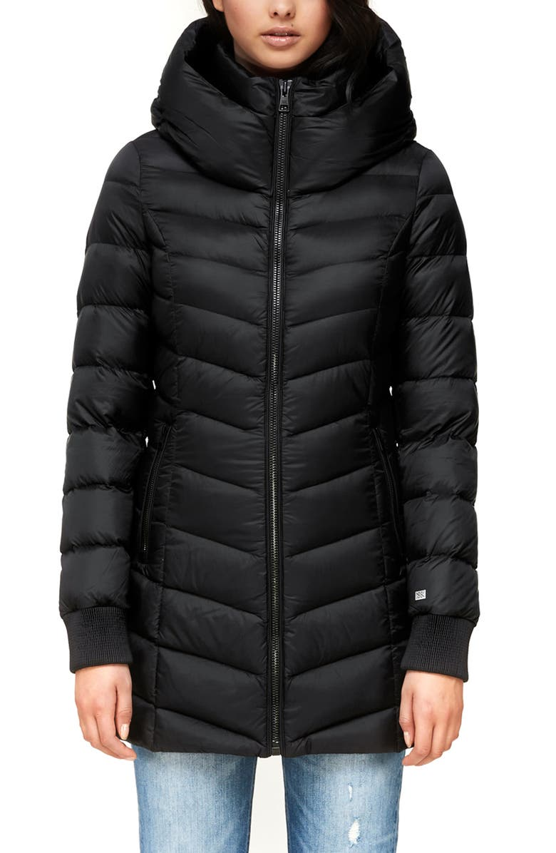 SOIA & KYO Alanis Hooded Water Repellent Lightweight Down Coat, Main, color, BLACK