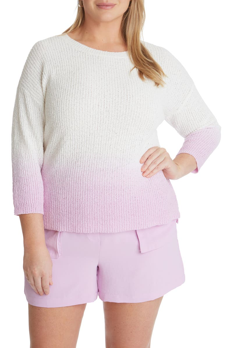 ADYSON PARKER Dip Dye Ribbed Cotton Blend Crewneck Sweater, Main, color, ORCHID COMBO