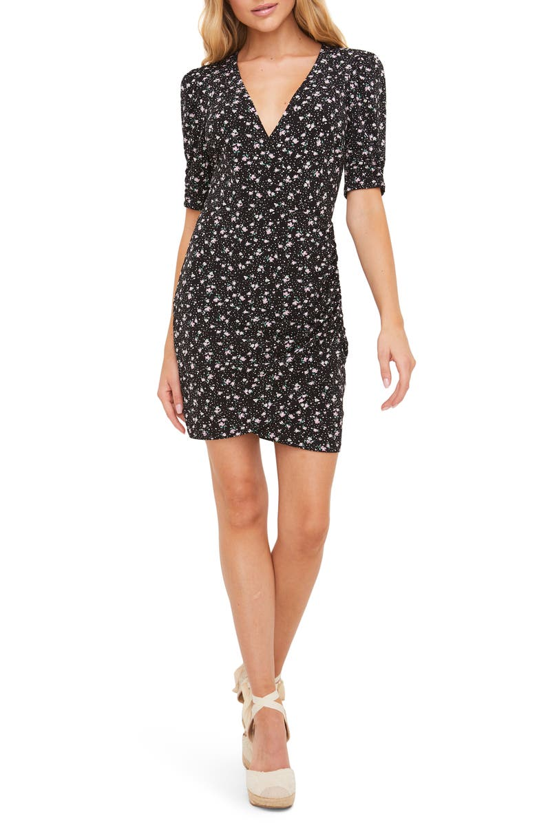 ALL IN FAVOR Ruched Detail Minidress, Main, color, BLACK DITSY
