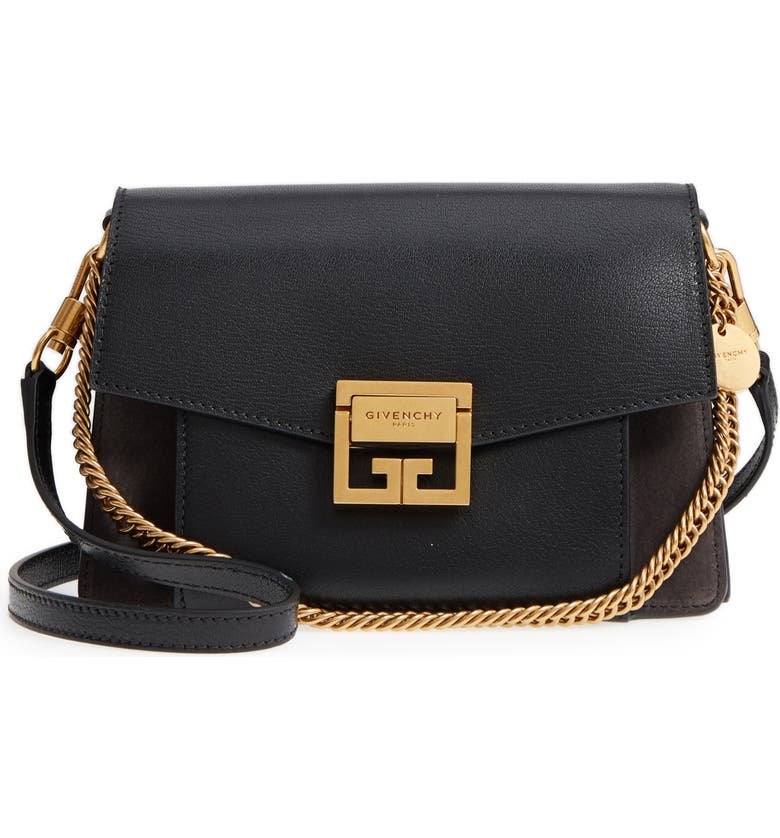 GIVENCHY Small GV3 Leather & Suede Crossbody Bag, Main, color, 002