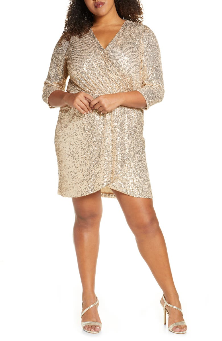 GIBSONLOOK Gibson x Glam The Motherchic Sequin Faux Wrap Holiday Dress, Main, color, 900