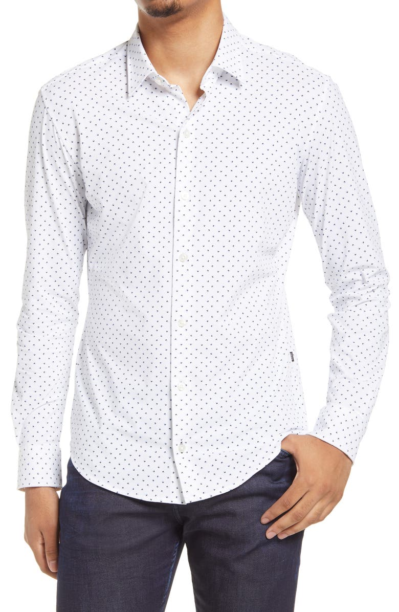 BOSS Robbie Slim Fit Knit Button-Up Shirt, Main, color, WHITE
