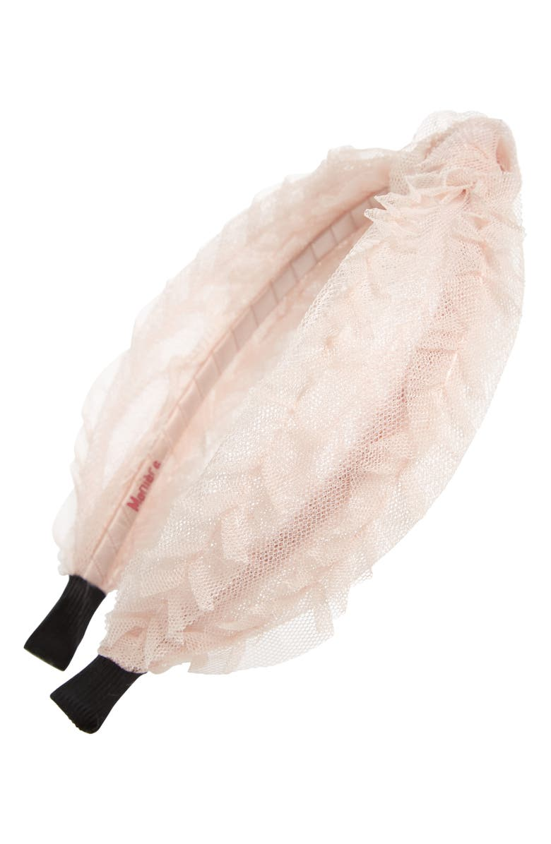 MANIÈRE Kids' Top Knot Tulle Headband, Main, color, CHAMPAGNE