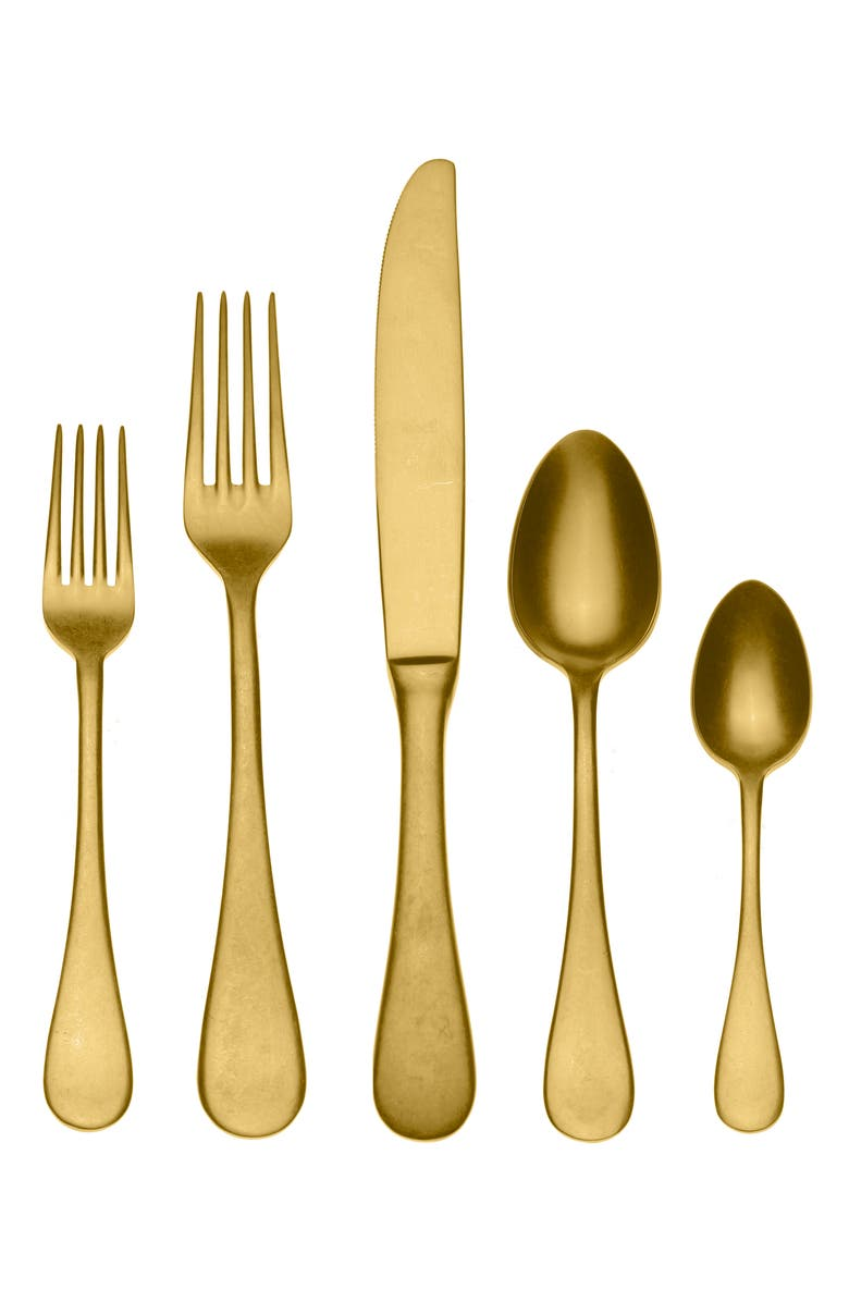 MEPRA Distressed 5-Piece Place Setting, Main, color, DISTRESSED GOLD