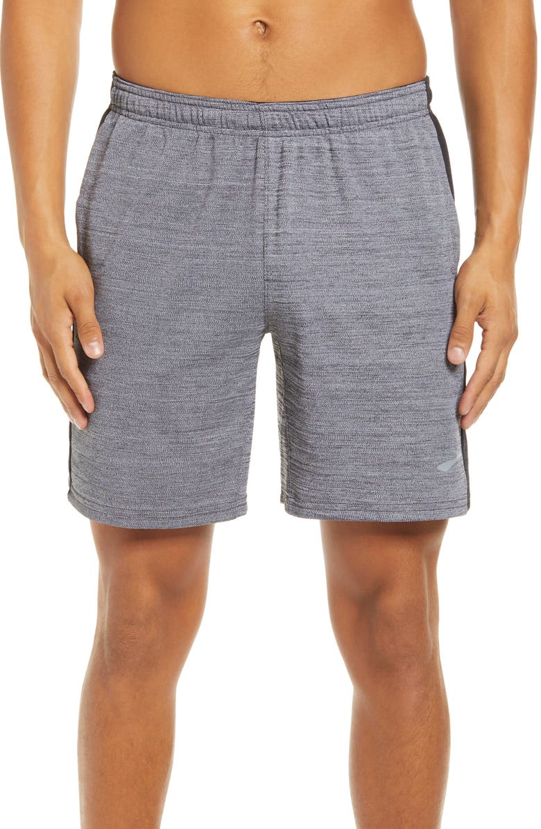 "BROOKS Rep Men's 8"" Performance Athletic Shorts, Main, color, HEATHER ASH/HEATHER"
