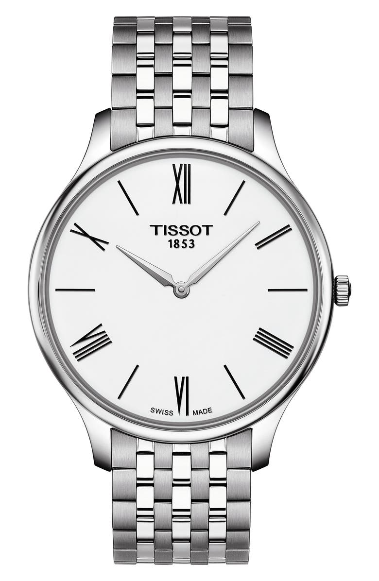 TISSOT Tradition 5.5 Round Bracelet Watch, 39mm, Main, color, SILVER/ WHITE/ SILVER