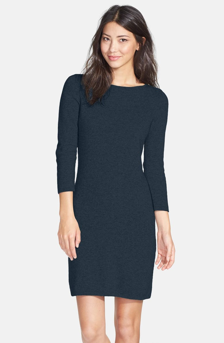 ONLY MINE Wool & Cashmere Sweater Dress, Main, color, NAVY/ BLACK