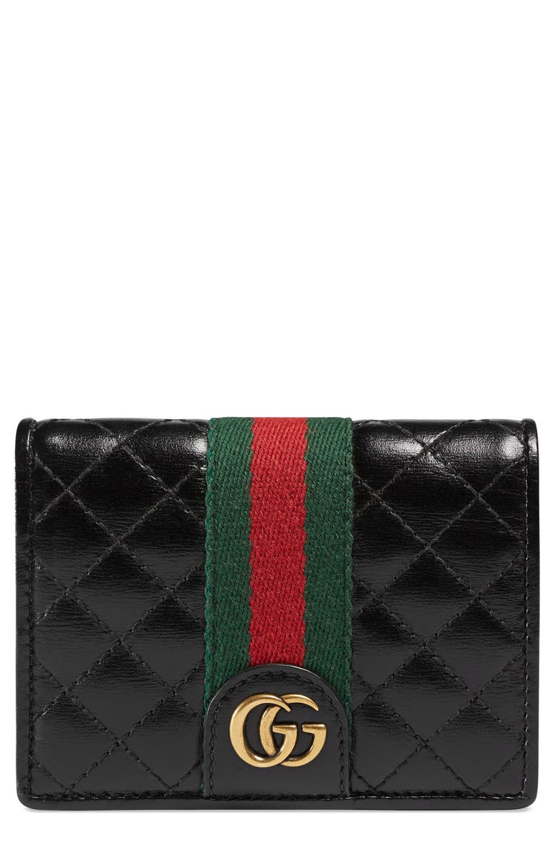 GUCCI Quilted Leather Card Case, Main, color, 006