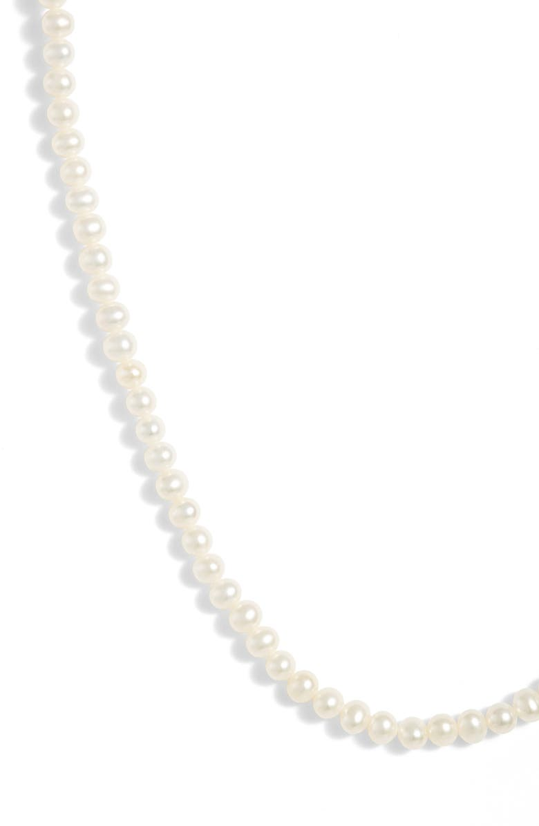 POPPY FINCH Pearl Short Strand Necklace, Main, color, YELLOW GOLD