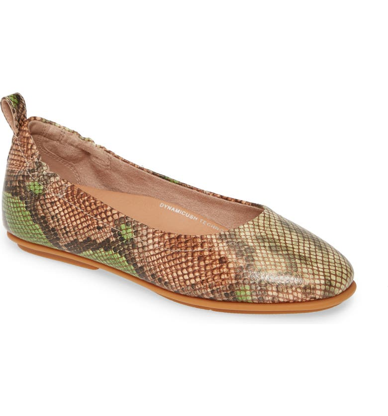 FITFLOP Allegro Snake Print Ballet Flat, Main, color, 323