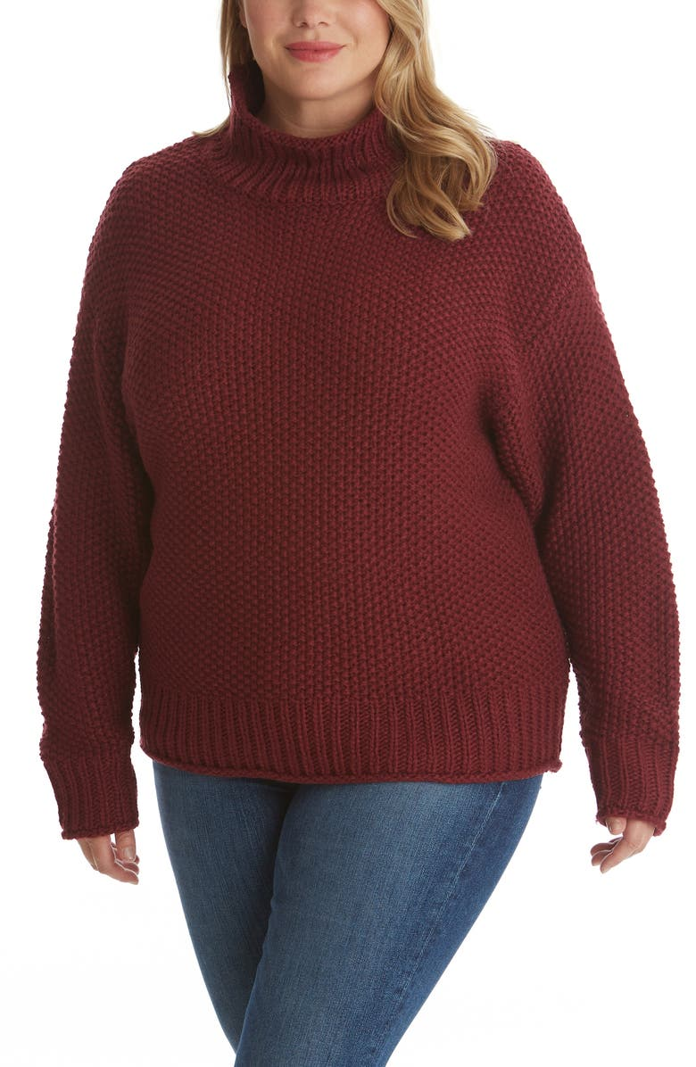 ADYSON PARKER Mock Neck Sweater, Main, color, BORDEAUX