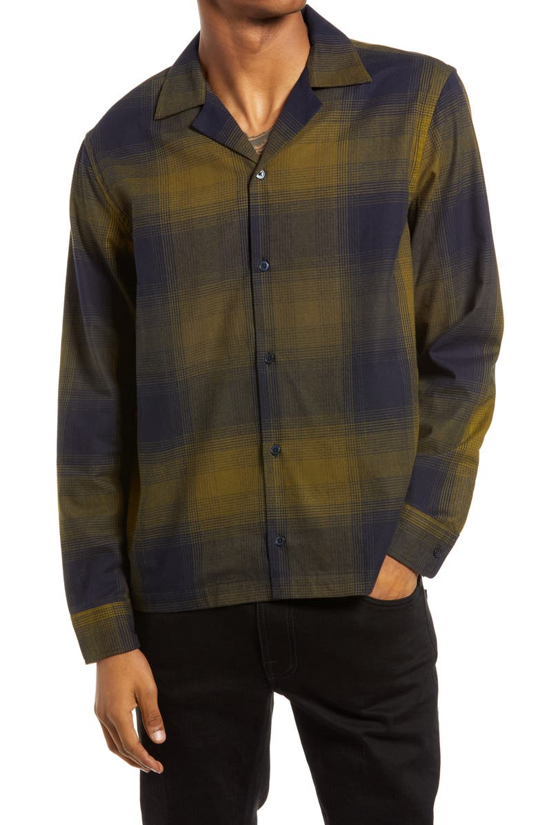 SATURDAYS NYC Marco Plaid Flannel Men's Button-Up Shirt, Main, color, ARMY GREEN