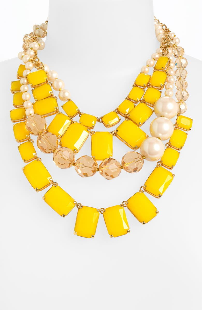 KATE SPADE NEW YORK 'treasure chest' statement necklace, Main, color, YELLOW MULTI/ PEARL