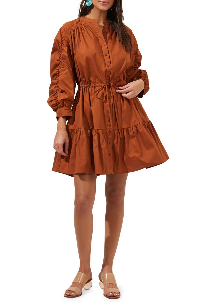 ASTR THE LABEL Ruched Shirtdress, Main, color, COGNAC