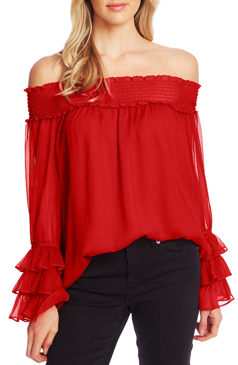 CECE Smocked Off the Shoulder Blouse, Main, color, 609