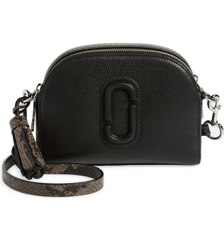 MARC JACOBS The Marc Jacobs The Shutter Snakeskin Embossed Strap Leather Crossbody Bag, Main, color, BLACK MULTI