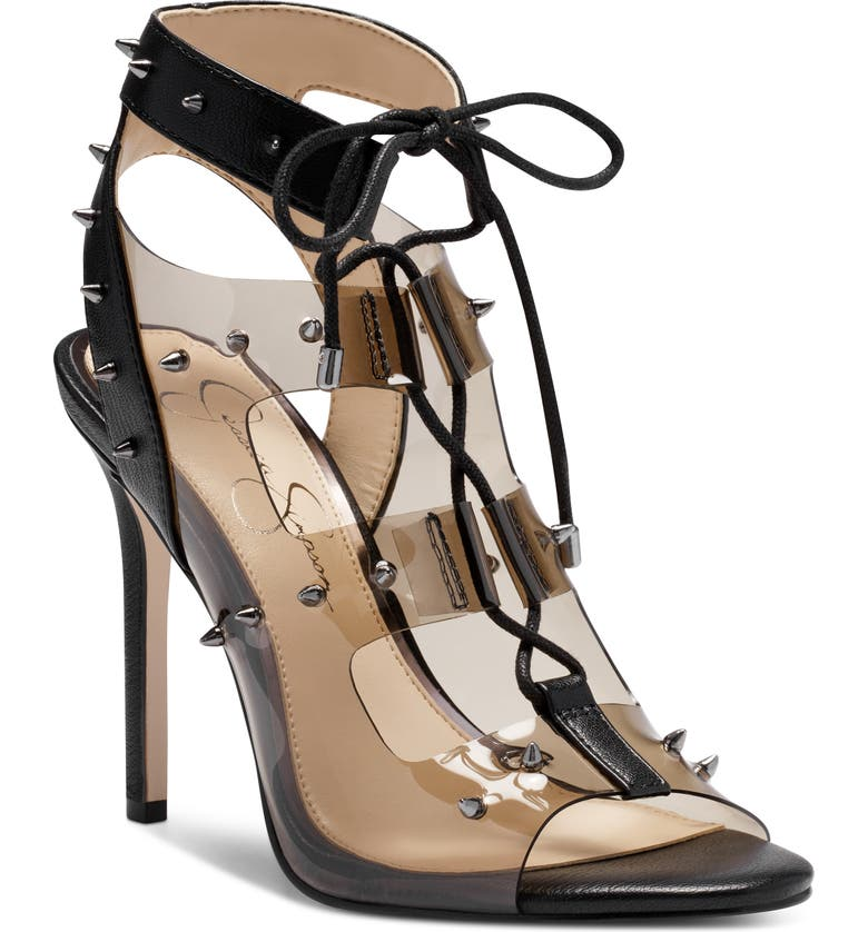 JESSICA SIMPSON Jirven Spike Clear Strap Cage Sandal, Main, color, 001