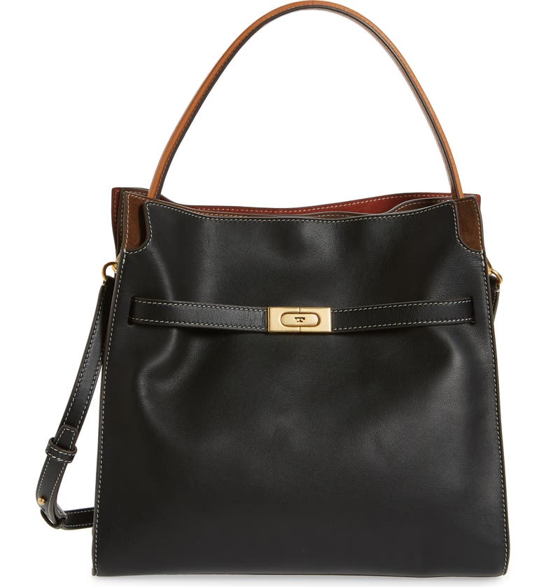 TORY BURCH Lee Radziwill Leather Double Bag, Main, color, Black