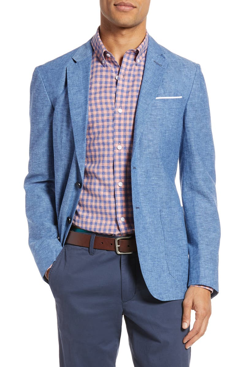 1901 Extra Trim Fit Chambray Sport Coat, Main, color, BLUE DARK CHAMBRAY
