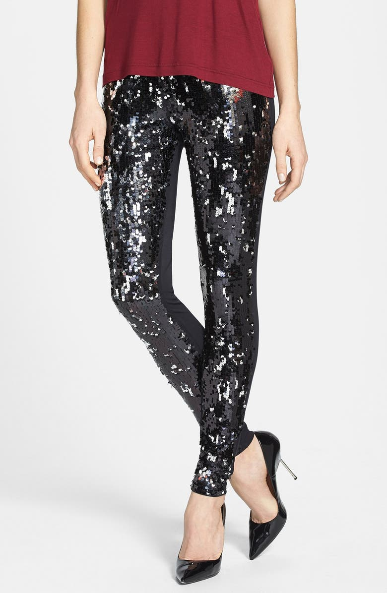 NORDSTROM 'Shimmy' Sequin Leggings, Main, color, 001