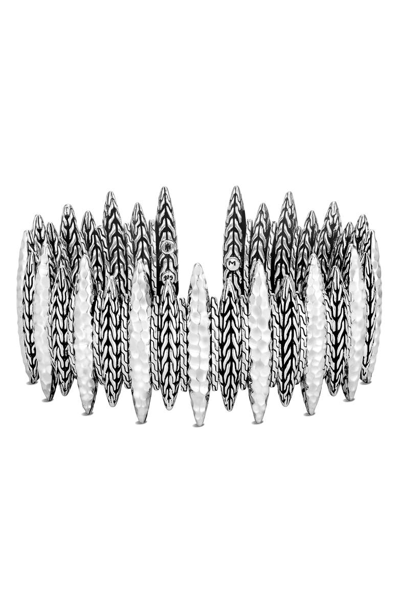 JOHN HARDY Classic Chain Hammered Spear Large Flex Cuff, Main, color, SILVER