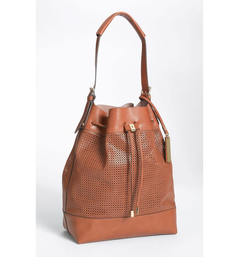 VINCE CAMUTO Perforated Drawstring Shoulder Bag, Main, color, 200