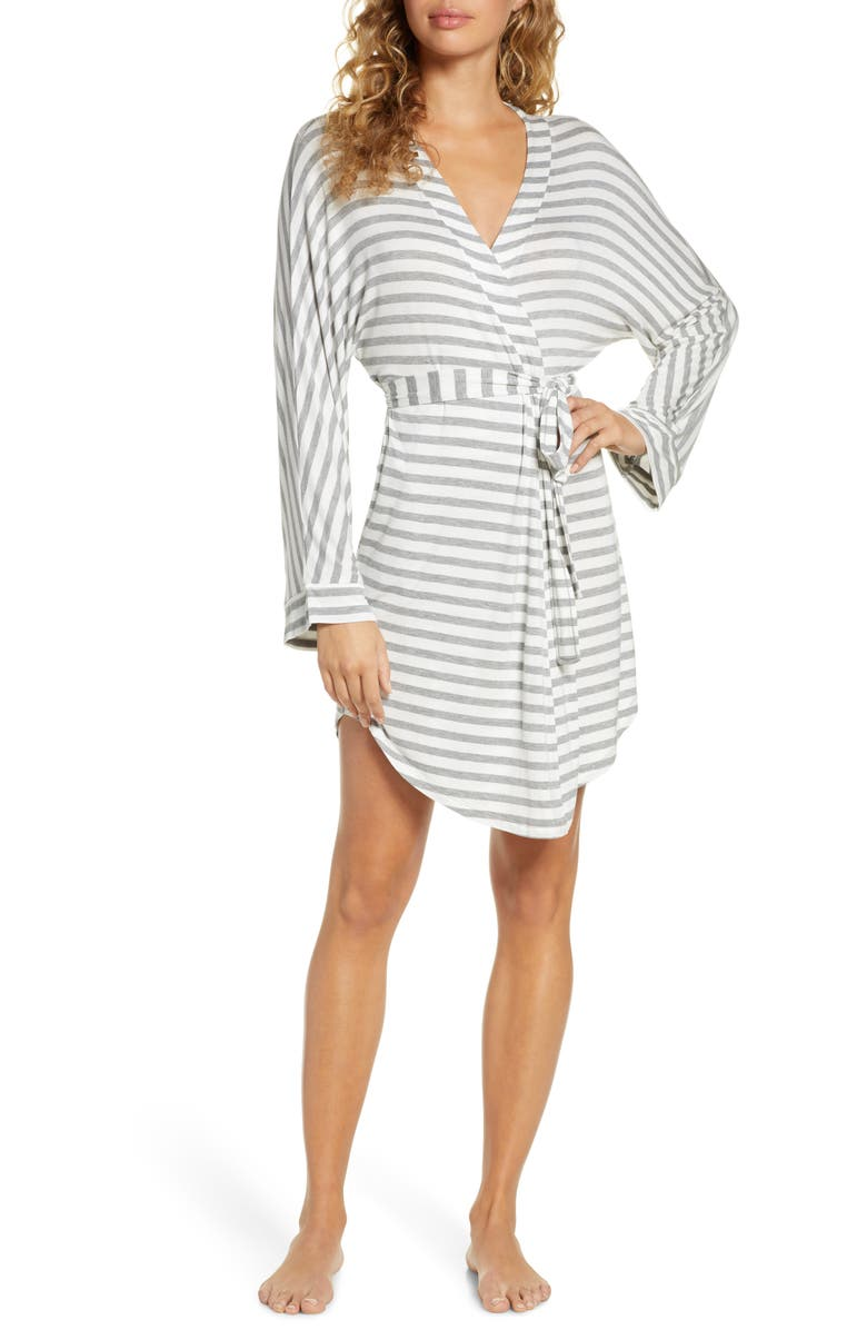 HONEYDEW INTIMATES All American Jersey Robe, Main, color, IVORY STRIPE