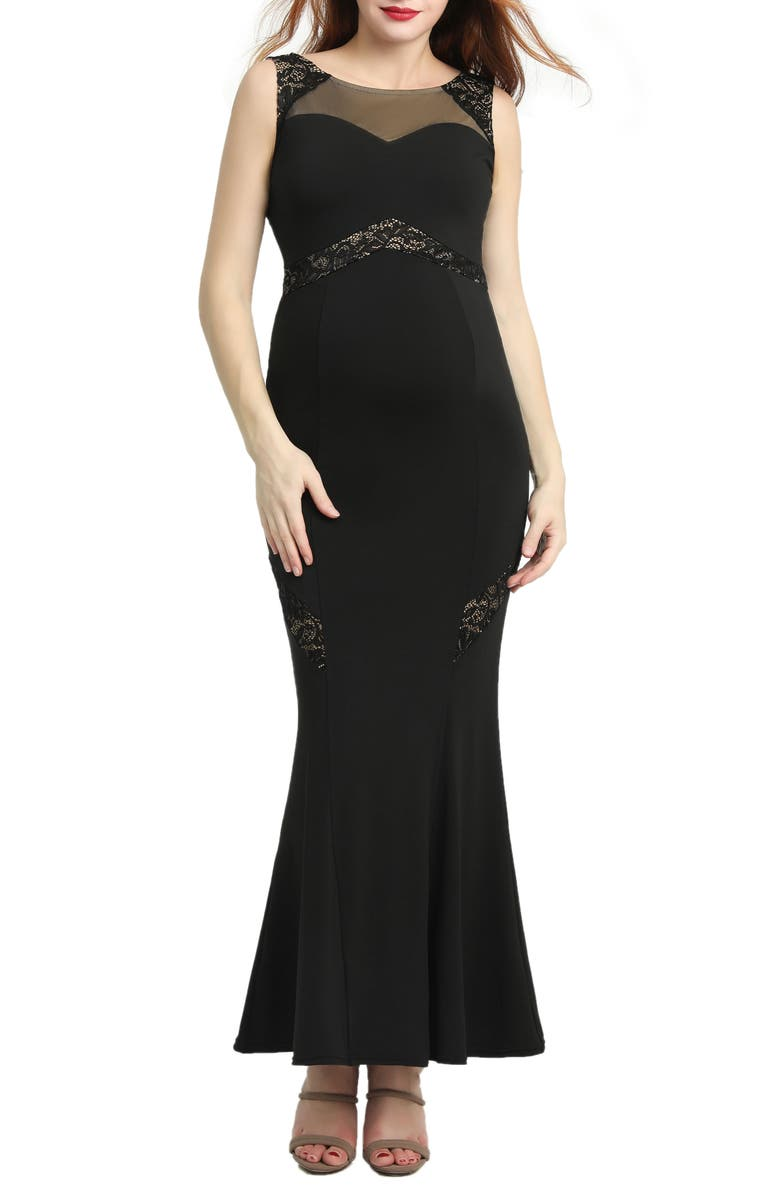 KIMI AND KAI Corinne Lace Trim Maternity Mermaid Gown, Main, color, BLACK
